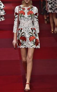 White Lace Dress With Embroidered Carnations by Dolce & Gabbana for Preorder on Moda Operandi