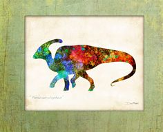 """• Watercolor """"Parasaurolophos"""" is a Signed Art Print from the original illustration of Artist Dan Morris.     Dan Morris is known for his stylized, realistic illustration and use of bold colors.   Brighten up any wall space in your home or office with this stunning art print hand signed by the artist.    •Premium  Heavyweight Fine Art matte paper, acid free, and printed with Archival inks.    • Signed by the Artist.    *Choose your print size: 5""""x7"""", 6""""x8"""", 8""""x10"""", 11""""x14"""" or 12""""x16""""    •…"""