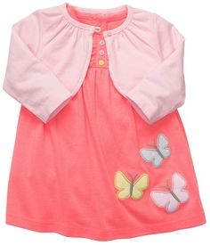 Carters Girls Flutter By 2piece Bodysuit Dress Set NB24M 6 Months >>> You can find out more details at the link of the image. (This is an affiliate link) #BabyGirlDresses