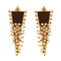 Dramatic Golden Pearl Cluster Triangle Earrings