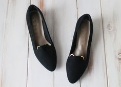 SIZE 6 B Vintage 90s SELBY Black Leather Pointy by 601VINTAGE