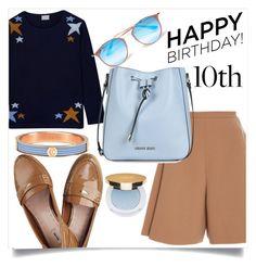 """Celebrate Our 10th Polyversary!"" by kotynska-zielinska ❤ liked on Polyvore featuring Orwell + Austen, Delpozo, Miu Miu, Armani Jeans, Ray-Ban, Charriol, Isaac Mizrahi, polyversary and contestentry"