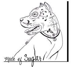 Pitbull Sugar Skull Coloring Pages