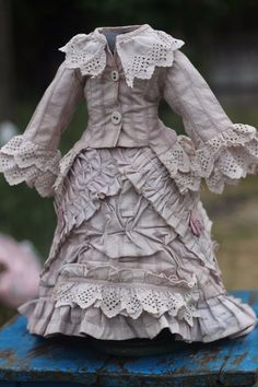 Beautiful Antique Fashion Doll Dress and Skirt Soutache on Cotton | eBay