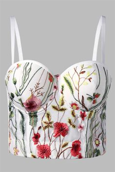 $15.98 Embroidery Floral Corset - White