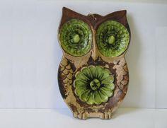 vintage Green  brown Treasure Craft OWL Spoon Rest Wall Plaque