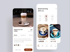 Coffee Application Design designed by Urmi Islam for Orizon: UI/UX Design Agency. Connect with them on Dribbble; the global community for designers and creative professionals. Ui Design Mobile, Design Café, Mobile Ui, Flat Design, Graphic Design, Apps, Coffee Deserts, Website Design Layout, Ui Design Inspiration