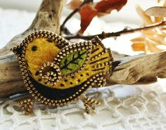 *FELT ART ~ Little yellow bird brooch by woolly  fabulous, via Flickr
