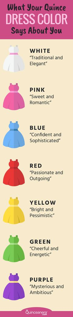 Adding fun color to your quince dress is a wonderful way to express your individual style and one-of-a-kind personality. Remember that the color of the dress you choose should be a representation of who you are and how you want to be perceived by your loved ones. Before purchasing a colorful dress to wear on your quinceañera day, you might want to first consider these popular dress colors and what they say about you.