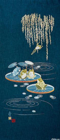 Lily Pad Pond - Noren Panel - Indigo/Gold