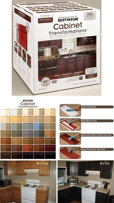 "Transforming Your Kitchen Cabinets {and More!} with Rust-Oleum's Product ""Cabinet Transformations"". Full Step-by-Step Tutorial plus tips by a real user. It comes with a deglosser, the bond coat, an optional decorative glaze, and the top coat. No sanding, just have to make sure that the surface is clean using the deglosser and a scrubbie."