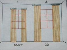 """example for hanging curtain rods. """"high & wide"""" makes such a huge difference."""