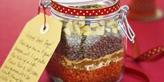 Dried lentils and seasonings are layered into a beribboned mason jar to create this inexpensive, one-of-a-kind holiday gift.