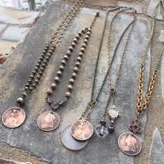 Victorian antique bronze British coin necklaces. All one of a kind and handmade. Email lisajilljewelry@gmail.com for info.