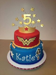Adorno de torta de cumpleaños de Mujer Maravilla - http://xn--manualidadesparacumpleaos-voc.com/adorno-de-torta-de-cumpleanos-de-mujer-maravilla/