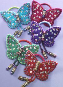 Hippy Hairband~Scrunchie Felt Beaded Butterfly Hairband~Fair Trade by Folio Gothic Hippy Butterfly Art And Craft, Butterfly Bags, Fabric Butterfly, Felt Diy, Felt Crafts, Hippie Hair Bands, Gothic Hippie, Felt Patterns, Wool Applique