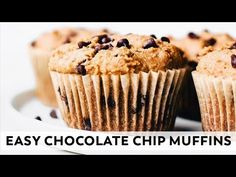 Easy Chocolate Chip Muffins // vegan, grain-free, healthy - YouTube