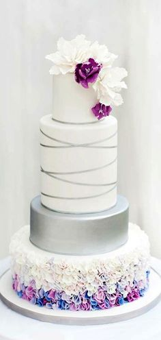 Beautiful Cake Pictures: Silver Ribbon & Colorful Ruffles Wedding Cake - Cakes with Ribbons, Cakes With Ruffles, Elegant Cakes, Wedding Cakes - Beautiful Wedding Cakes, Gorgeous Cakes, Pretty Cakes, Magical Wedding, Amazing Cakes, Bolo Floral, Bolo Cake, Ruffle Cake, Fondant Ruffles