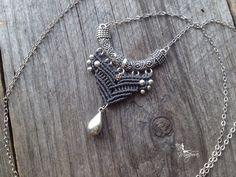 Macrame necklace boho tribal chic micro par creationsmariposa, $30.00