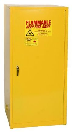 """Eagle 1961 Safety Cabinet for Flammable Liquids, 1 Door Manual Close, 60 gallon, 65""""Height, 31-1/4""""Width, 31-1/4""""Depth, Steel, Yellow by Eagle Manufacturing. $1099.00. Eagle Flammable Safety Cabinet, 60 Gallon, Single Door 60, Manual Close with 1 Door, 2 shelves and a yellow powder coat finish with a trilingual safety warning label.. Save 33%!"""