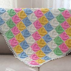 Popcorn Bebek Battaniyesi Crochet Square Blanket, Patchwork Blanket, Baby Blanket Crochet, Crochet Motif, Crochet Shawl, Crochet Stitches, Baby Knitting Patterns, Crochet Patterns, Pop Corn