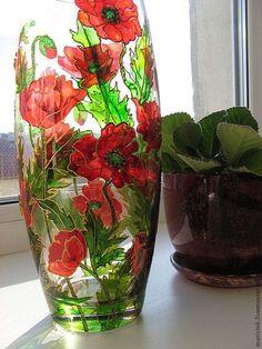 """Вазы ручной работы. Вазы """"Маки"""" и """"Розы"""". Любимые стекляшки для подарков. Интернет-магазин Ярмарка Мастеров. Красный цвет, подарок"""