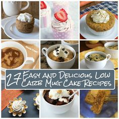 Innovative Low Carb, Gluten-Free Recipes Mug cakes or muffins-in-a-minute? Whatever you call them, here are 27 delicious low carb recipes to satisfy your sweet tooth any time of day. Mug cake was ...