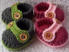 Handmade baby shoes with buttons for your twins.    Baby shoes will keep your babies little feets cozy and warm.  Baby shoes look beautiful and they a
