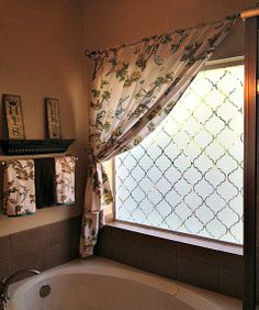 Thinking on how to pamper your Bathroom Windows more? Browse a full photo gallery for some design ideas for your next bathroom makeover. Bathroom Window Privacy, Bathroom Window Treatments, Bathroom Windows, Bathroom Wall Decor, Bathroom Colors, Bathroom Interior, Modern Bathroom, Master Bathroom, Privacy Window Film