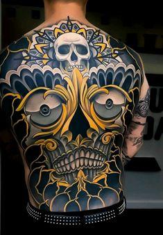 Japanese back tattoo by Skull Tattoos, Life Tattoos, Body Art Tattoos, Sleeve Tattoos, Cool Tattoos, Back Tattoos For Guys, Full Back Tattoos, Blackwork, Japanese Back Tattoo
