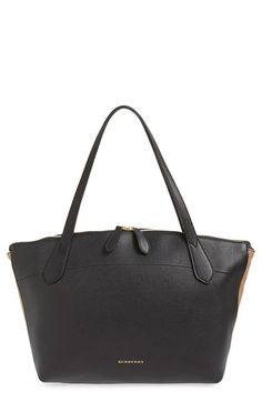 BURBERRY 'Welburn' Derby House Check Leather Tote. #burberry #bags #leather #hand bags #canvas #tote