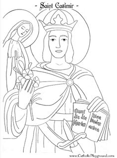 saint casimir coloring page, feast day March 4