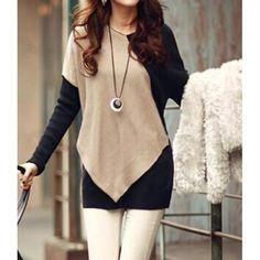 Elegant V-Neck Color Block Long Sleeve Loose-Fitting T-Shirt For Women