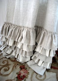 """Linen ruffle curtains… but in white! Need to learn how to """"fray"""" the bottom so… Linen ruffle curtains… but in white! Ruffle Curtains, Drop Cloth Curtains, Hanging Curtains, Lengthen Curtains, Cheap Curtains, Rustic Curtains, Wall Curtains, Sewing Curtains, Beige Curtains"""