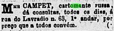 """""""Cartomante—Mme. Campet."""" Advertisement for a cartomante. Gazeta de Notícias. 21 October 1876.  Machado de Assis's short story, """"A Cartomante,"""" highlights the interactions between a cartomante and two characters, Rita and Camilo. Apparently, numerous cartomantes were actively advertising their services in Rio in the 1870s and 80s."""