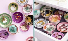 Colorful teacups & saucers, oh what a cute way to store jewelry!