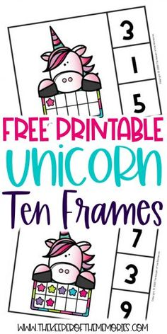 Ten Frame Unicorn Printables are a wonderful way to encourage counting, number recognition, subitizing and of course number sense. Don't forget to grab yours today! #unicorn #preschool #clipcards #tenframes Subitizing Activities, Number Recognition Activities, Sensory Activities Toddlers, Kids Learning Activities, Numeracy, Teaching Resources, Free Preschool, Preschool Themes, Preschool Printables