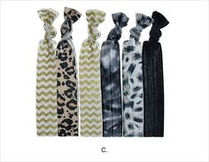 C - Assorted Basics Prints Knotted Hair Ties - These ultra comfortable hair ties are bright and effortless. Assorted patterns #janetran