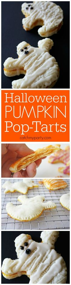 Make in the shape of pumpkins. Learn to make these Halloween Pumpkin Pop-Tarts | CatchMyParty.com