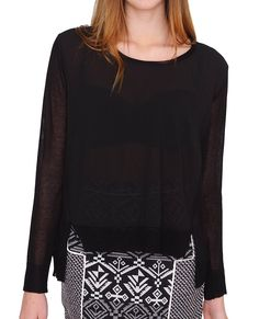 +Sheer georgette body with light weight knit contrasted sleeves and side seams