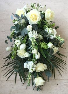 Oasis Based Tied Sheaf - whites, Creams and Greens Funeral Bouquet, Funeral Flowers, Gerbera, White Orchids, White Roses, Casket Sprays, Flowers For You, Ikebana, Grapevine Wreath