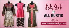 Flat 50% off on all Kurtis from harmeendesign.com Womens Fashion Online, Indian Ethnic, Office Wear, Kurtis, Anarkali, Formal Wear, Flats, How To Wear, Stuff To Buy