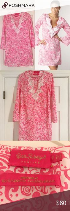 Lilly Pulitzer Jubilee Beaded Tunic EUC Daquiri pink/white printed Tunic long sleeve dress from the 50th anniversary Jubilee collection. Designed by Elisabeth Hasselbeck. Has white beading and embroidery around neckline. Lightweight cotton. Hand wash. Lilly Pulitzer Swim Coverups