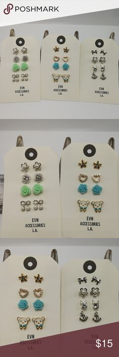 Bundle 12 anchor sailor silver mint blue bear pear New With Tags and Display cards! Bundle lot 12 high quality stud earrings. You will receive ALL the items shown. Not sold individually. No exceptions. Measurements for studs are not available. ALL studs are Lead & Nickel free. Cannot be swapped for other styles from other sets. Wooden ring display is not for sale. Price is FIRM unless bundled for bundle discount. ER#20 Jewelry Earrings