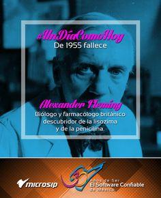 #UnDíaComoHoy 11 de marzo pero de 1955 fallece Alexander Fleming, biólogo y farmacólogo británico descubridor de la lisozima y de la penicilina.