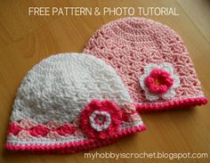 Crochet lacy hat for baby/toddler girls- Free pattern with photo tutorial (This is a pattern for a baby/toddler girl hat, but you can adapt the size till adult size by making more rounds with increases for the crown.)