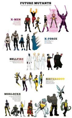 """modhero: """" These are a blast! I love the idea of Future Molly Hayes taking the name Rogue! melovecomics: """" THE FUTURE MUTANTS…as I see it. X-MEN Prodigy as Sage Match as Sunfire Loa as Shadowcat Trance as Psylocke Armor as Colossus Indra as. Marvel Comics, Hq Marvel, Marvel Heroes, Marvel Characters, Captain Marvel, Tableau D'information, 6 Chakra, Space Opera, Mundo Comic"""