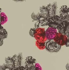 Cole and Son, Fornasetti line of wallpaper. Red and hot pink florals with gray. Textiles, Textile Patterns, Color Patterns, Print Patterns, Floral Patterns, Textile Design, B&w Wallpaper, Green Wallpaper, Pattern Wallpaper