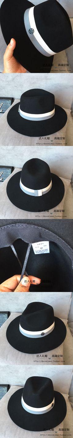 Wool, hat Sir Hat double black metal logo double color ribbon black wide-brim wool hat
