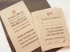 Wood grain invites? Love! And I love the food choice icons on the RSVP.